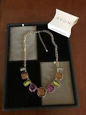 "Avon Adjustable Goldtone Multi-Color Chain Necklace NIB 17-20"""