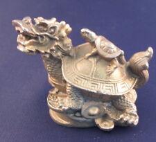 FENG SHUI BRASS METAL DRAGON TORTOISE On TURTLE & COINS STATUE FIGURINE LONG GUI