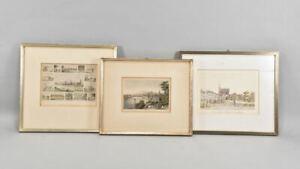 f95r52- 3x Druckgrafik ua Ansicht von Cannstadt, 19./20.Jh.
