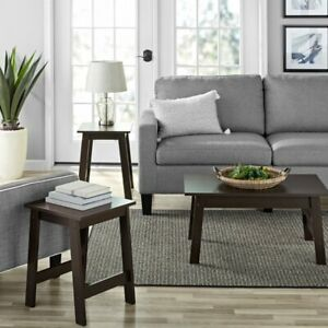 Mainstays Pilson 3 Piece Coffee Table and End Table Set, Espresso Finish