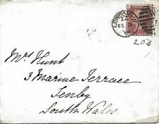 GB QV 1879 COVER PENNY RED PL203 'LT' FROM LONDON TO TENBY SOUTH WALES 05TH FEB