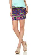 Ajc Girls Falda Minifalda Playa de Verano Ceñido Etno-Estampado Multicolor 36