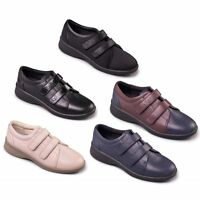 LADIES LEATHER PADDERS SOFT COMFY SHOES WIDE EEE/EEEE STRAP FIT REVIVE 2