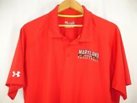 Maryland Terrapins Basketball Under Armour Heat Gear Loose Red Polo Shirt L NWOT