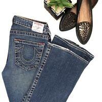 "True Religion • Women's 30 x 30 • ""Bobby"" Flare Low Rise Denim Blue Jeans $198"