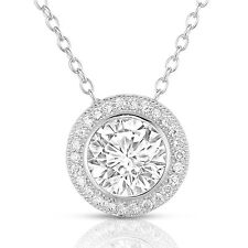 Sterling Silver Round Cubic Zirconia CZ Halo Pendant Necklace