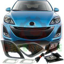 For Mazda 3 2010-2011 Front Bumper Fog Light+Fog Lamp Bezels+Harness Kit Replace