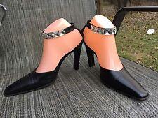 Sonia Rykiel Paris Black Women's Heel Shoes sz.37.5 ankle Strap w/rhinestones
