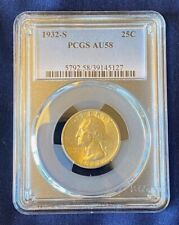 1932-S Washington 90% Silver Quarter PCGS AU-58, Key Date, Low Mintage Coin