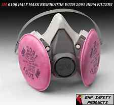 3M 6100 HALF MASK REUSABLE RESPIRATOR W/ 2091 P100 DUST FILTER CARTRIDGES SMALL