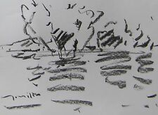 JOSE TRUJILLO MODERN EXPRESSIONISM ORIGINAL CHARCOAL DRAWING PLEIN AIR SIGNED
