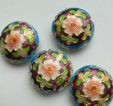 4 Round Cloisonne Beads, Ornate Floral, Purple/Pink/Blue 18mm. Jewellery Making