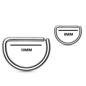 Nose Hoop Ring 316L Surgical Steel D Shape Annealed