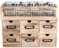 6 Drawer Cabinet Rack With 12 Spice Glass Jars Storage Holder Kitchen Organizer