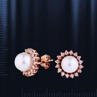 Ohrstecker mit Perlen 5mm Russische Rose Rotgold 585 Neu Glänzend pearl earrings