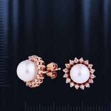 Russische Rose Rotgold 585 Ohrstecker mit Perlen 5mm Neu Glänzend pearl earrings