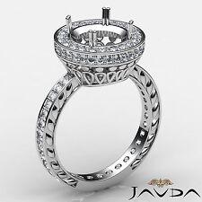 1Ct Diamond Engagement Round Semi Mount 18k White Gold Halo Pave Filigree Ring