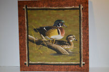 Pair of  Duck Prints on Fabric by James Hautman & Robert Hautman on Wooden Frame