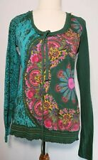 Desigual Size EUR M (10) Green Pink Floral Long Sleeve Tshirt Top Cotton
