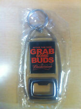 "Budweiser ""After The Ride, Grab Some Buds"" Bottle Opener Key Ring - New"