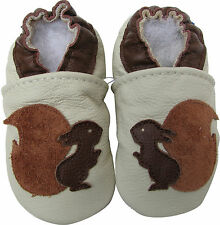 carozoo new soft sole leather baby shoes squirrel cream 3-4t