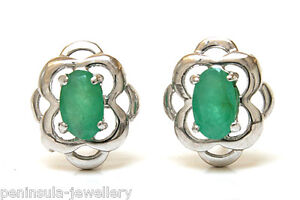 9ct White Gold Emerald Studs Celtic Earrings Gift Boxed Made in UK Birthday Gift