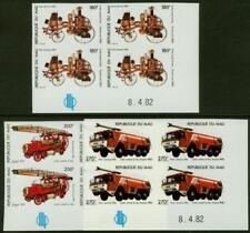 Mali 1982 Fire Engines set in imperf margin blocks