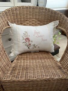 Rachel Ashwell Simply Shabby Chic Cross Stitch Rose Home Sweet Home Pillow