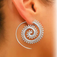 PAIR SILVER PLATED BOHO ETHNIC TRIBAL SWIRL SPIRAL HOOP EARRINGS UK SELLER