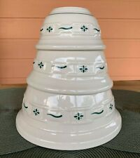 """3 Longaberger Pottery Mixing Bowl Set Woven Traditions Heritage Green 10"""" 8"""" 6"""""""