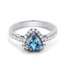 Anillos de joyería con gemas azul topacio diamante