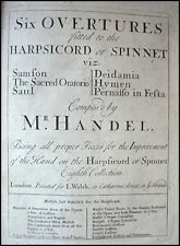 G.F. HANDEL (Composer): Six overtures fitted to the Harpsichord ...