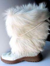 AUTHENTIC PAJAR WHITE GOAT FUR/COWHIDE WINTER APRÈS-SKI BOOTS, ITALY 39/US 8-8.5