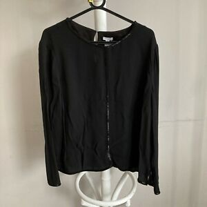 JIGSAW Black Beaded Crepe Top Long Sleeve New With Tags Size 16 ##Bel