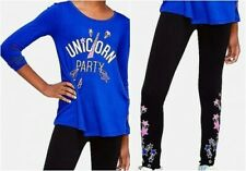 NEW 2pc JUSTICE Unicorn Party Swingy Top Tee & Star Leggings OUTFIT Sz 6 7 NWT