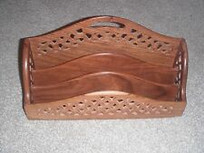 PIERCED WOODEN THREE SECTION LETTER RACK