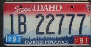 IDAHO 2003 License Plate  -  Man Cave - Bar - Garage  1B 22777  Triple 7 s