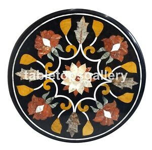 """24"""" Marble Center Coffee Table Top Mosaic Floral Inlay Stone Kitchen Decors B140"""