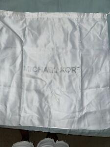 "Michael Kors White Satin Drawstring Lg 22""x 22""Dust bag Dust Cover Silver Font"