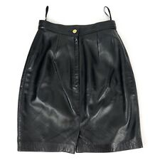 St. John Women's Made in Italy 100% Leather Straight Pencil Skirt Black - Size 2