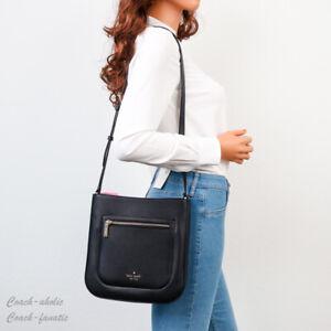 NWT Kate Spade New York Leila Leather Top Zip Crossbody in Black