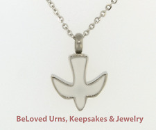 """White Dove Cremation Jewelry Pendant Urn Keepsake Memorial- 20""""Necklace & Funnel"""