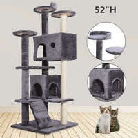 """52"""" Gray Pet Cat Tree Play House Tower Condo Bed Furniture Scratching Post Kitty"""