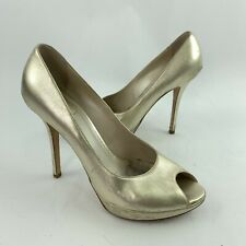 Christian Dior Size 39 Peep Toe Pumps Shoes Platform Heels Leather Gold Italy