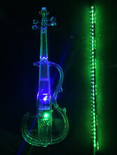 Acrylic Plexiglass Electronic Violin Seven-color LED Lights with Green LED Bow