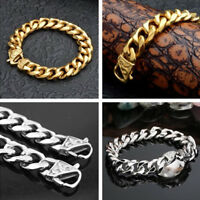 Heavy 316L Stainless Steel Silver / Gold Curb Cuban Mens Chain Bracelet Bangle