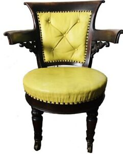 Stylish 19th Century American Mahogany Captains/Desk Chair in Pistachio Leather
