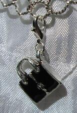 1 CHARM SAC NOIR 3D BRELOQUE MOUSQUETON EN METAL ARGENTE CLIPPER *V197