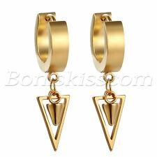2pcs Mens Womens Stainless Steel Hoop Huggie Drop Dangle Triangle Rivet Earrings