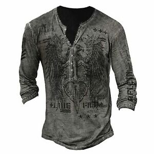 Vintage Men Long Sleeve Print T-shirt Blouse Casual Fit Basic Tee Pullover Tops